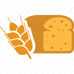 bakery, bread, breakfast, food, grain, wheat icon