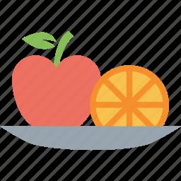 apple, apple and orange, food, fruit, lemon, orange icon