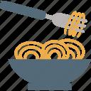 food, fork, noodles, eating, kitchen