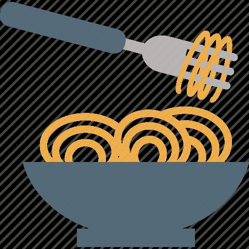 eating, food, fork, kitchen, noodles icon