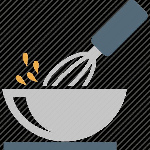 beater, beating egg, bowl, egg beater, kitchen icon