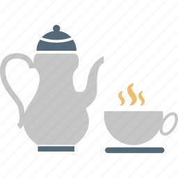 cup and saucer, hot tea, kettle, tea, tea kettle, teapot icon