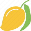 fresh, fruit, mango, mango with leaf icon