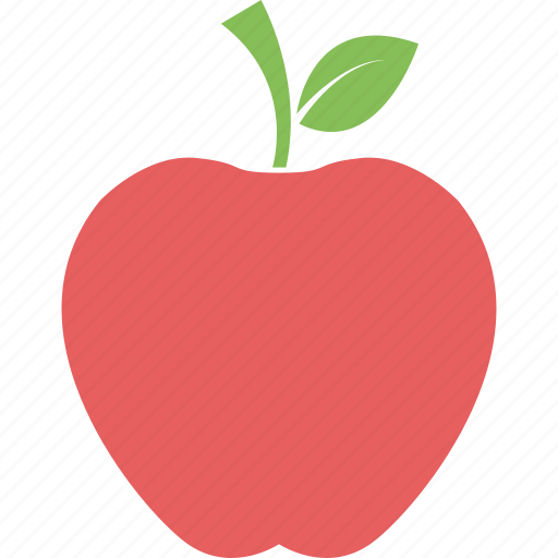 apple, apple with leaf, food, fresh apple, fruit, healthy icon