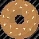 bagel, breakfast, sesame icon