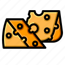 cheddar, cheese, dairy, piece, slice icon
