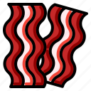 bacon, fried, meat, pork, sliced icon