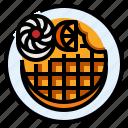 bakery, belgian, cream, wafer, waffle icon
