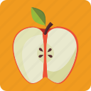 apple, diet, food, fresh, fruit, half, organic icon