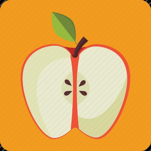 apple, diet, food, fresh, fruit, half, organic icon