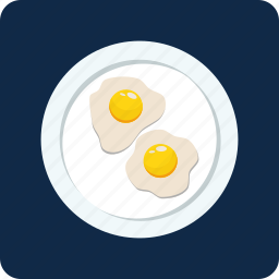 breakfast, egg, food, fried, meal, plate, roasted icon