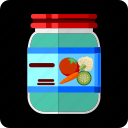 assortment, cauliflower, conserved, food, jar, marinated, pickled icon