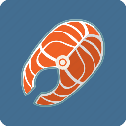 fish, fresh, healthy, nutrition, piece, salmon, seafood icon