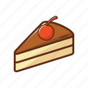 cake, cherry, chocolate, food, piece, sweet