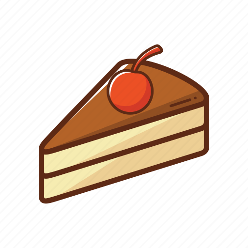 cake, cherry, chocolate, food, piece, sweet icon