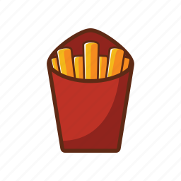 american food, fast food, food, french fries, potato, red icon