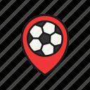 football, location, locator, map, pin, soccer