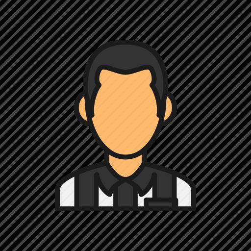 football, man, referee, soccer, sport, stripe icon