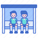 players, bench, football icon