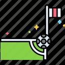 arrow, corner, direction, kick icon