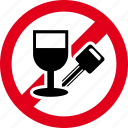 alcohol, car, drink, drive, forbidden, no, wine icon
