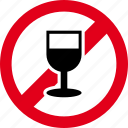 alcohol, beverage, cup, drink, forbidden, wine icon