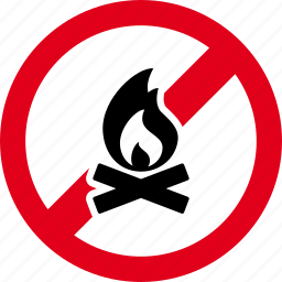 campfire, fire, flame, forbidden, no, stop, warning icon