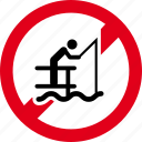 fish, fishing, forbidden, no, prohibited, restricted, sea icon