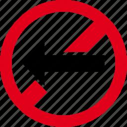 direction, forbidden, go, left, no icon