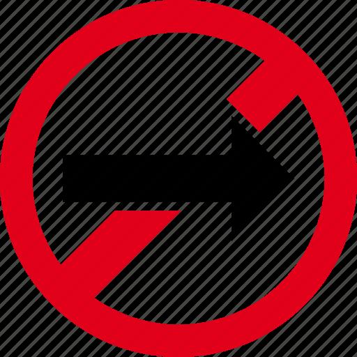 direction, forbidden, forward, go, right icon