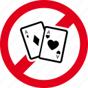 cards, casino, forbidden, gambling, game, no, poker icon