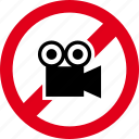 camera, film, forbidden, media, movie, record, video icon