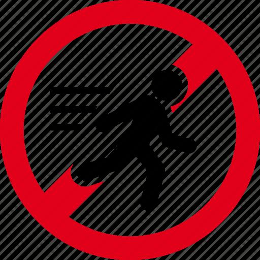 forbidden, no, prohibited, run, runner, stop icon