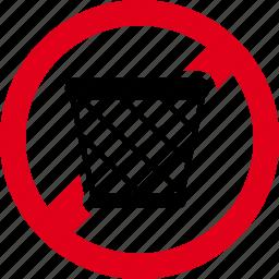 forbidden, garbage, litter, trash icon
