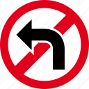 arrows, direction, forbidden, left, turn icon
