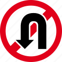 forbidden, no, prohibited, restricted, stop, turn, u-turn icon
