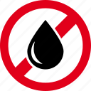 drop, forbidden, no, water, wet icon