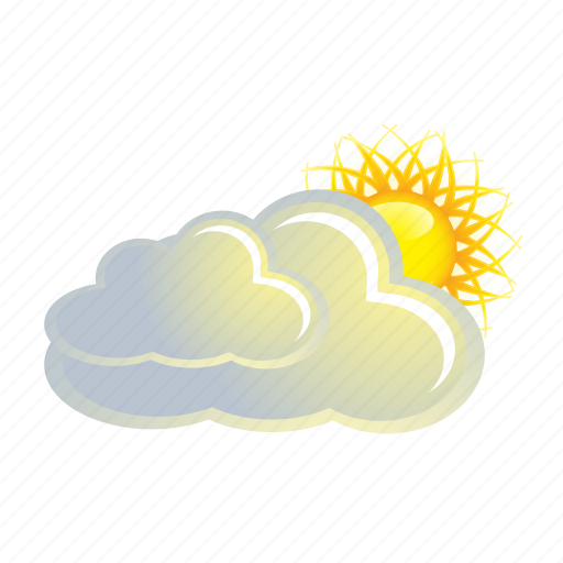 cloud, clouds, cloudy, sun, weather icon