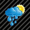 cloud, cloudy, forecast, rain, sun, sunny, weather icon