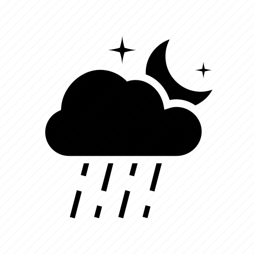 cloud, forecast, moon, night, overcast, rain, weather icon