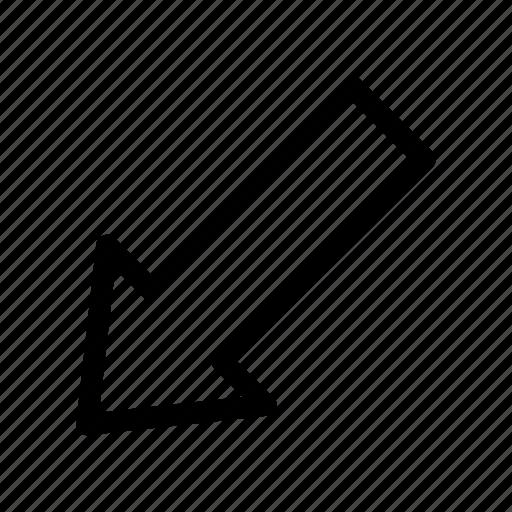 app, arrow, bottom, left icon