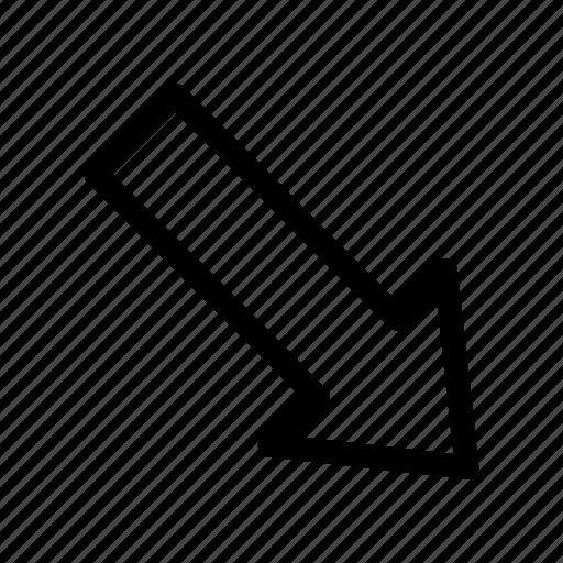 app, arrow, bottom, down, right icon icon