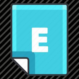 e, extension, file, format, software icon
