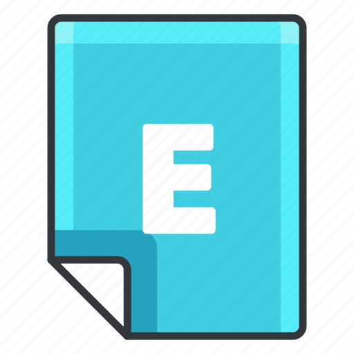 e, extension, file, format, software icon