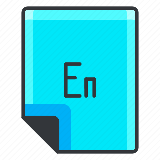 en, extension, file, format, software icon