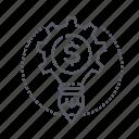 dollar, engineering, gear, pencil icon