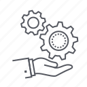 cogs, gears, hand, solution icon