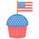 flag, independence day, muffin, usa icon