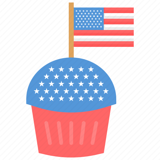 Flag, independence day, muffin, usa icon - Download on Iconfinder
