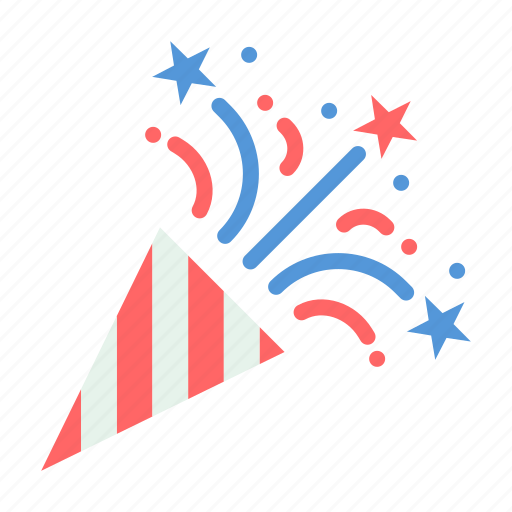 celebrate, cone, july 4, party icon